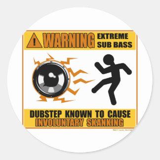 DUBSTEP Warning Extreme Bass Round Sticker