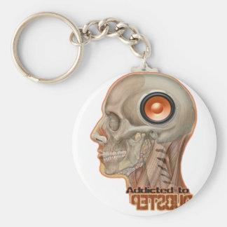 Dubstep woofer brain basic round button key ring