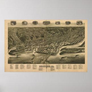 Dubuque Iowa 1889 Antique Panoramic Map Print