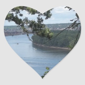 Dubuque Iowa from the Mississippi River Heart Sticker