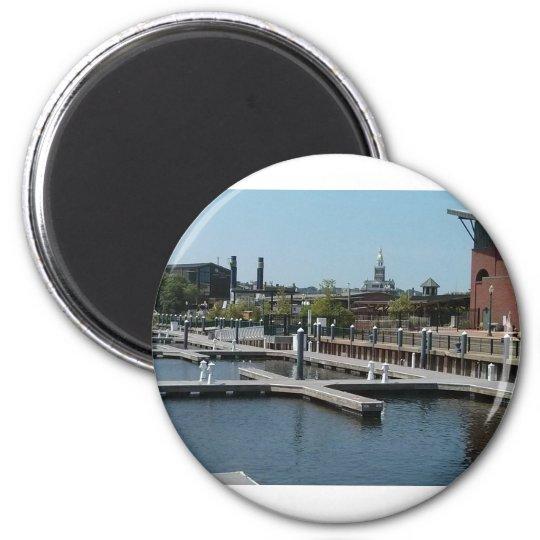 Dubuque, Iowa Ice Harbour, Mississippi River 6 Cm Round Magnet