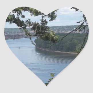 Dubuque Iowa on the Mississippi River Heart Sticker