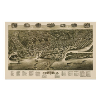 Dubuque, Iowa Panoramic Map - 1889 Poster