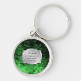 Duchess Green Leather Silver Plaque Pet Tag Key Ring