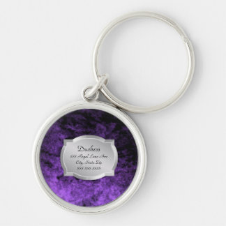 Duchess Purple Leather Silver Plaque Pet Tag Key Ring