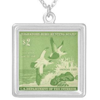 Duck American Eider Postage Stamp Necklace