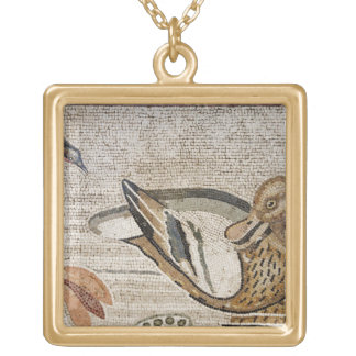 Duck and bird, Nile mosaic, House of the Faun Gold Plated Necklace
