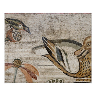 Duck and bird, Nile mosaic, House of the Faun Poster