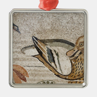 Duck and bird, Nile mosaic, House of the Faun Silver-Colored Square Decoration