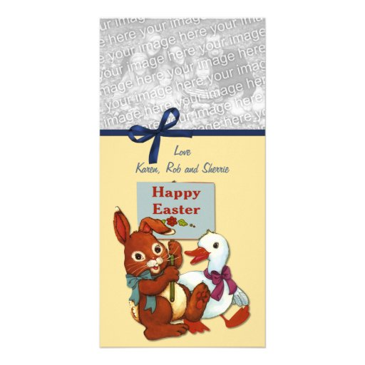 Duck and Bunny Easter Photo Card