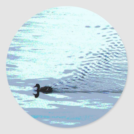 Duck and Ripples Classic Round Sticker