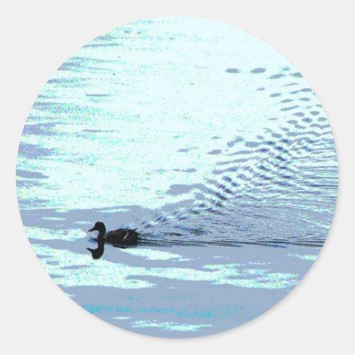 Duck and Ripples Round Sticker