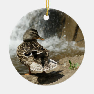 DUCK AT WATERFALL ORNAMENT