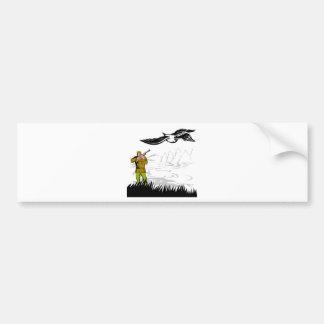 duck bird hunter hunting aiming shotgun rifle bumper sticker