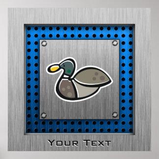 Duck; Brushed metal-look Poster