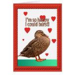 Duck Bursting Heart Valentine Card