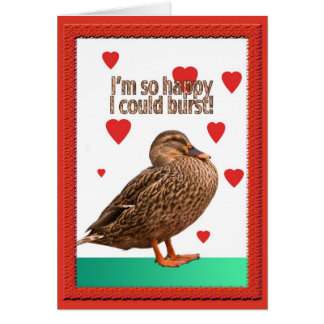 Duck Bursting Heart Valentine Card