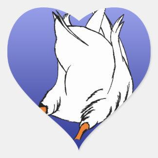 Duck Butt Postage Stamp Heart Sticker