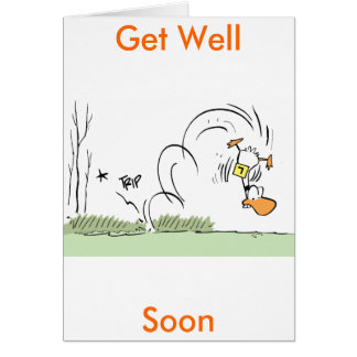 Duck Cartoon Get Well Soon Card