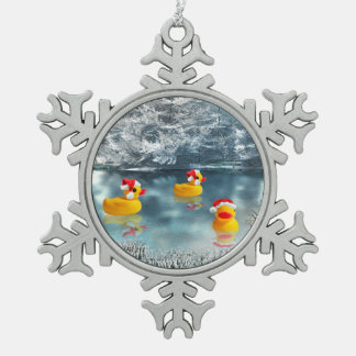 Duck Christmas Snowflake Pewter Christmas Ornament