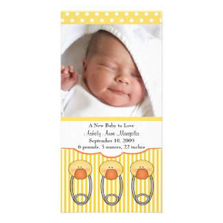 Duck Diaper Pins PHOTO Birth Announcement Picture Card