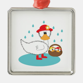 Duck & Ducklings Silver-Colored Square Decoration