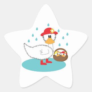 Duck & Ducklings Star Sticker