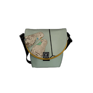 Duck Egg Blue Budgie Bag Watercolour Courier Bag