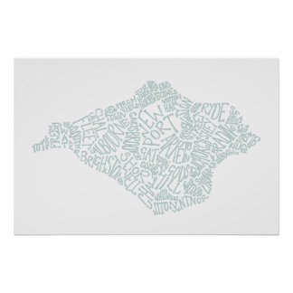 Duck Egg Blue Isle of Wight Text Map Poster
