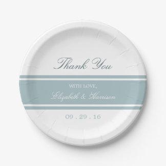 Duck Egg Blue Modern Wedding Paper Plate