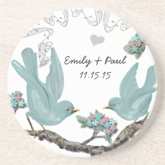 Duck Egg Blue & Pink Vintage Love Birds Coasters