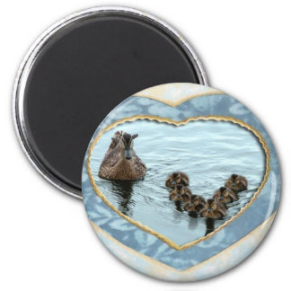 Duck formation in heart 6 cm round magnet