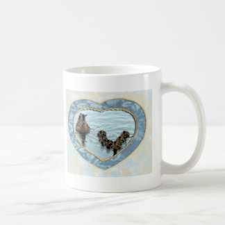 Duck formation in heart coffee mugs