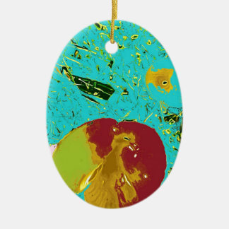 Duck Frog Peach and Fish Surreal Design Christmas Ornament