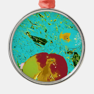 Duck Frog Peach and Fish Surreal Design Silver-Colored Round Decoration