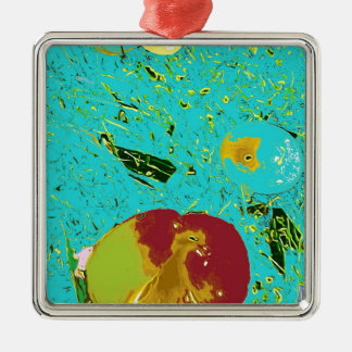 Duck Frog Peach and Fish Surreal Design Silver-Colored Square Decoration