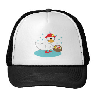 Duck & her ducklings Illustration Cap