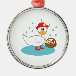 Duck & her ducklings Illustration Christmas Ornament