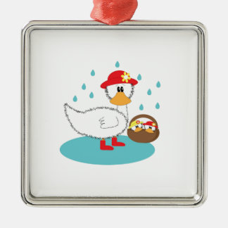 Duck & her ducklings Illustration Silver-Colored Square Decoration