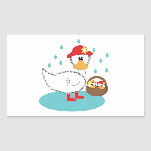 Duck & her ducklings Illustration Rectangular Sticker