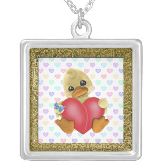 Duck Holding Heart Necklace