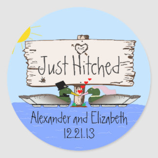 Duck Hunter Wedding Classic Round Sticker