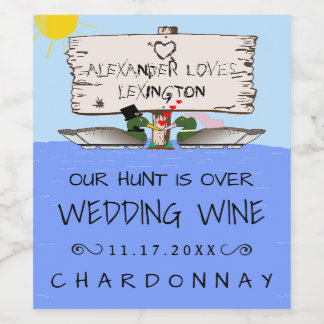 Duck Hunter Wedding Wine Label