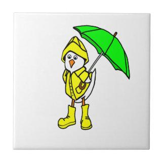 Duck In Raincoat Small Square Tile