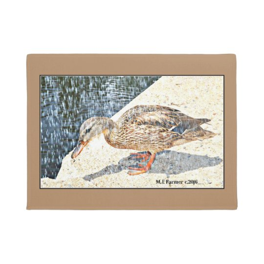 Duck in the Rain Door Mat