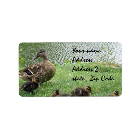 Duck mum and ducklings label