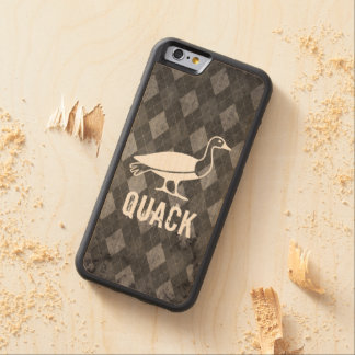 Duck Pictogram on Black Argyle Grunge Carved® Maple iPhone 6 Bumper