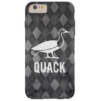 Duck Pictogram on Black Argyle Grunge Tough iPhone 6 Plus Case