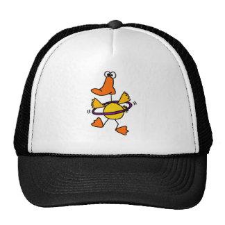 Duck Playing with Purple Hula Hoop Cartoon Cap