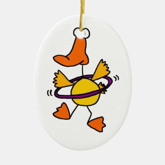 Duck Playing with Purple Hula Hoop Cartoon Ceramic Oval Decoration